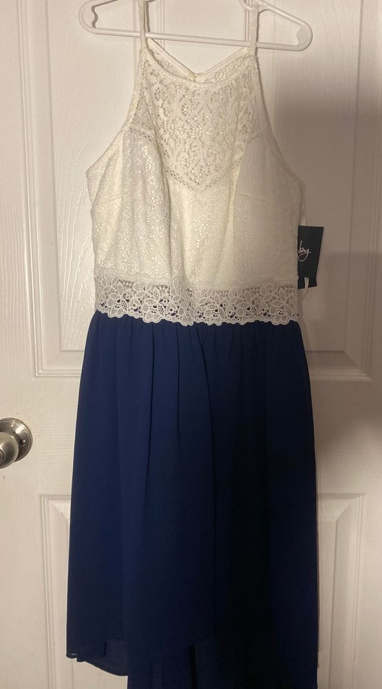 Macy S Navy Blue And White Lace Dress Curtsy