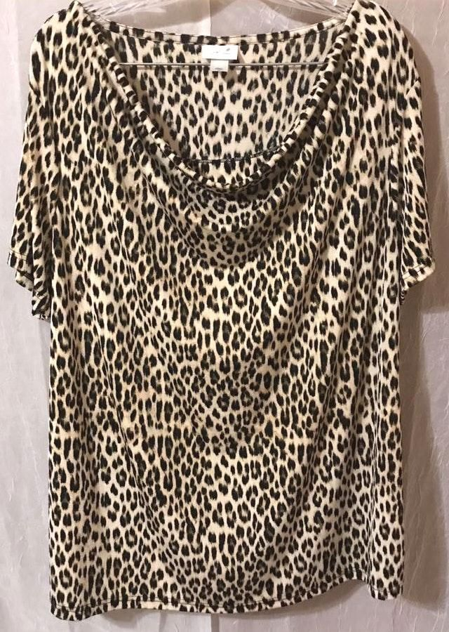 Jaclyn Smith Plus Size Leopard Print Blouse 2x Curtsy