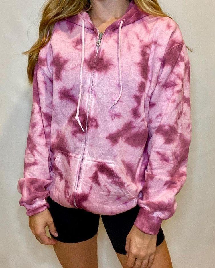 Michigan State University tie dye zip-up hoodie