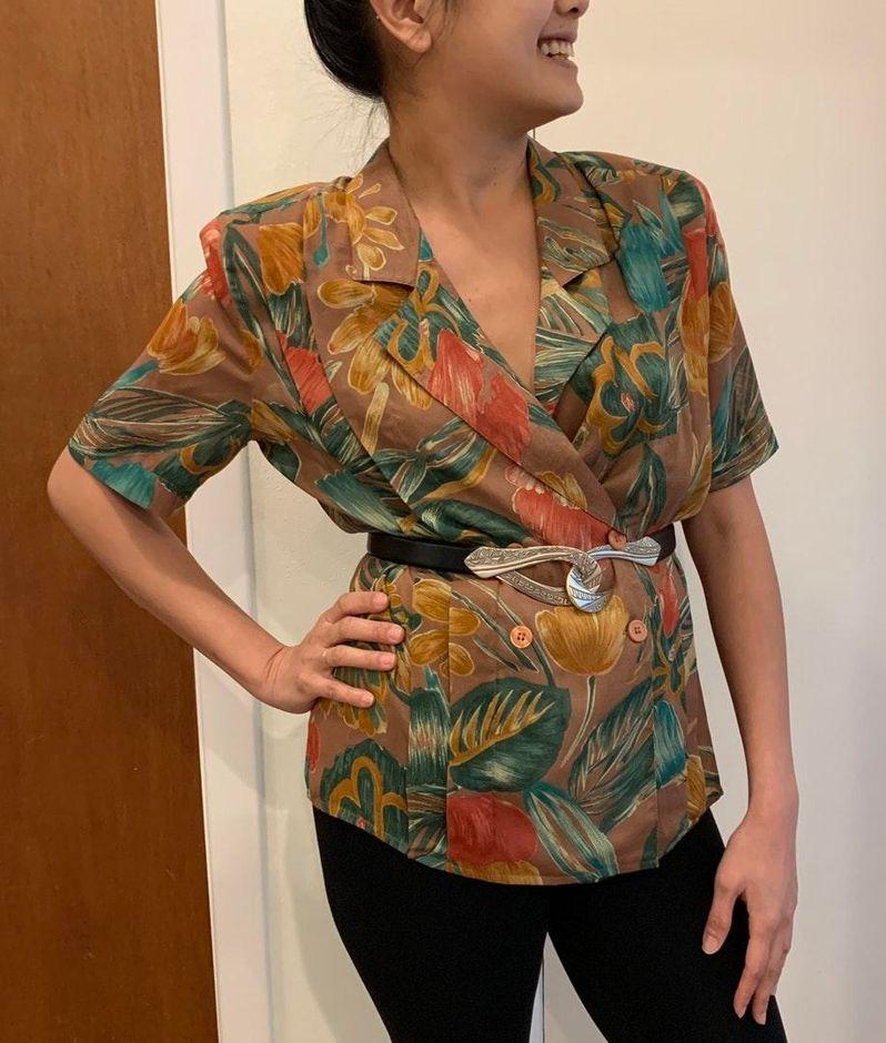 Vintage 80/'s Brown Patterned Viscose Shirt