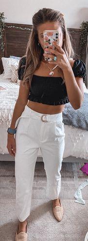 Antonio Melani Ivory High Waisted Belted Pants