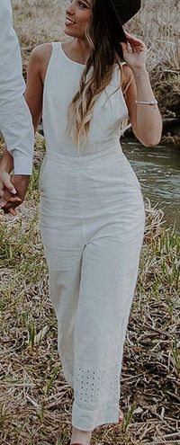 Urban Outfitters Linen White Jumpsuit