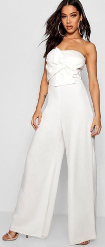 Boohoo White Strapless Jumpsuit