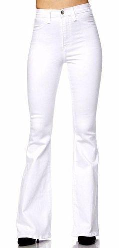 Vibrant white flare jeans