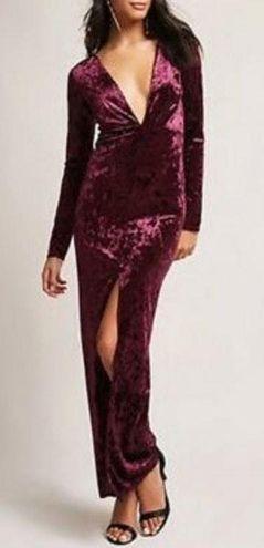 Forever 21 Velvet Maxi Dress Long Sleeve Deep V NWT