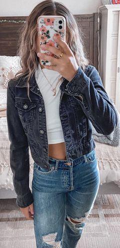 Boutique Black Cropped Jean Jacket