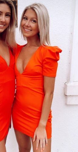 sexy red/orange formal dress
