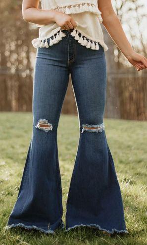 Vibrant MIU Distressed Flare Leg High Rise Jeans