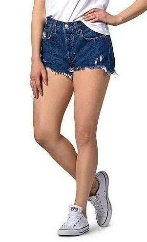 Levi's High Rise Button Fly Distressed Jean Shorts