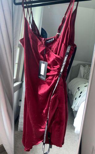 Pretty Little Thing Red Silk Dress