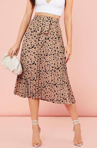 SheIn Leopard Print Pleated Skirt