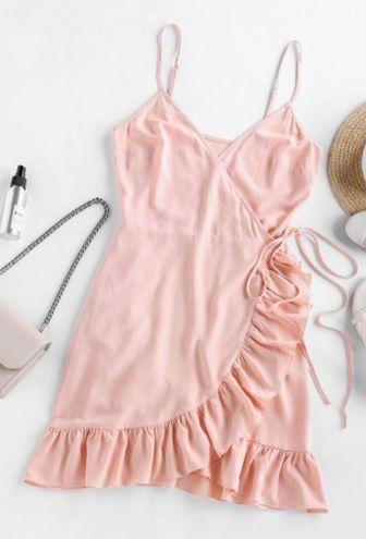 Zaful Pink Side Tie Wrap Dress