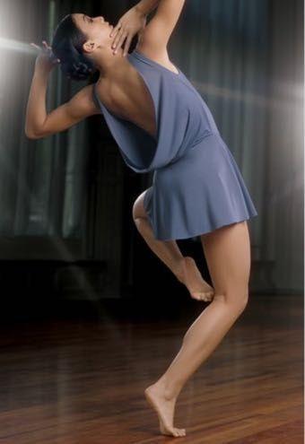 Balera dance Ash Blue Matte Jersey Dance Costume With Drape Back