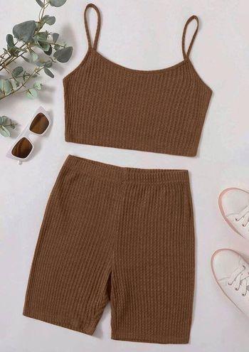 SheIn knit cami top and biker shorts set