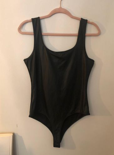 Iris Black Faux Leather Bodysuit