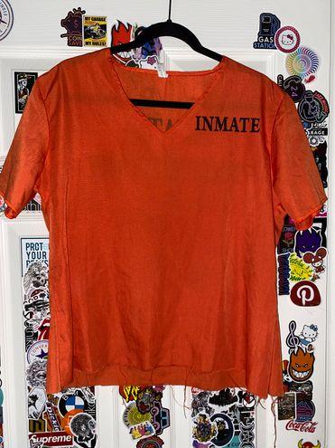 Halloween Costume Inmate Prisoner Penitentary Orange Shirt Top Pullover
