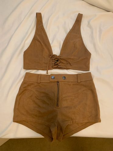 Forever 21 Tan Suede Festival Lace Up Two piece Set