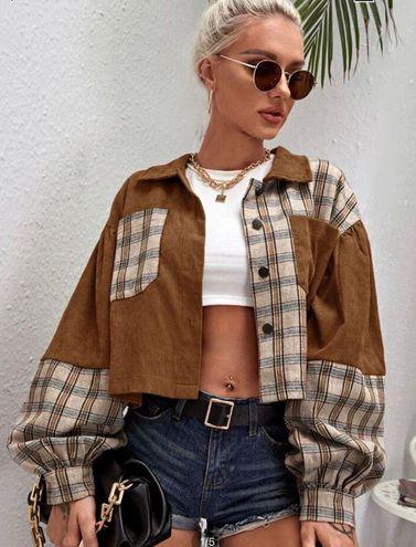 SheIn  Trendy Brown Corduroy Jacket