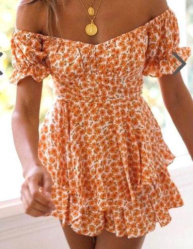 Orange Floral Playsuit