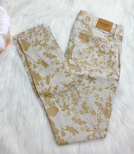 Abercrombie & Fitch Floral Metallic Skinny Jeans