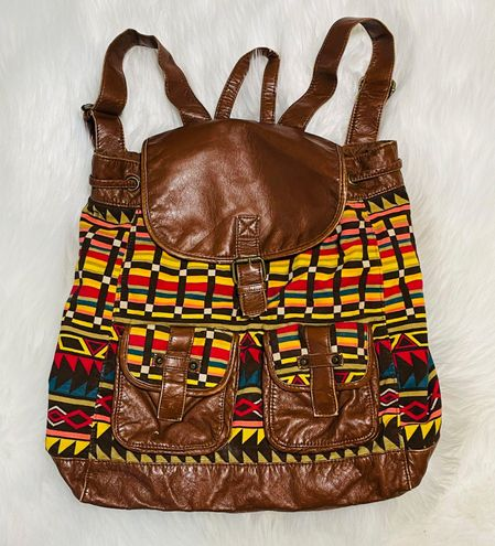 Mudd Boho Tribal Aztec Canvas Backpack