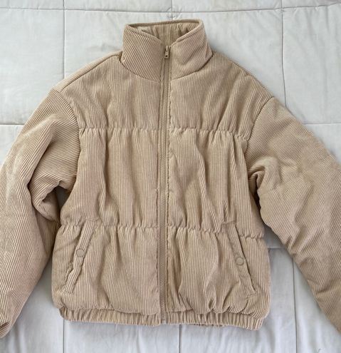 Boutique Corduroy Beige Puffer Coat