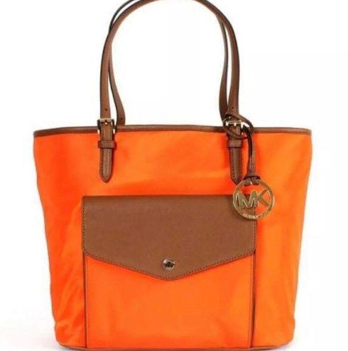 Michael Kors NWT  Jet Set Item Large Pocket Multifunction Nylon Tote Tangerine Bag