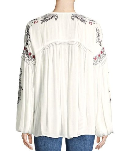 Free PeopleRock It Tonight Embroidered Peasant BlouseWhite