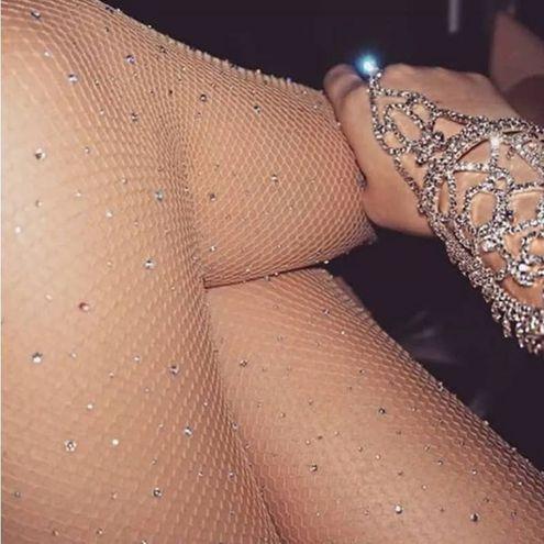Nude Rhinestone Fishnet Tights Rave Festival