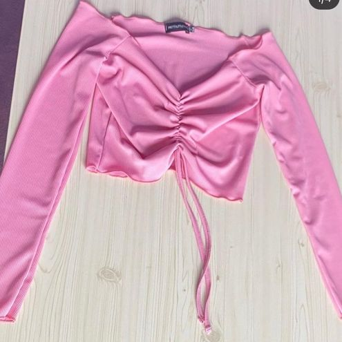 Pretty Little Thing pink crop top