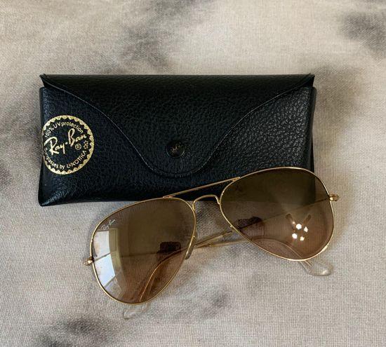 Ray-Ban Gold And Brown Aviator Sunglasses