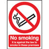 No Smoking 210 x 148mm Self-Adhesive Against the Law Safety Sign - SR72080