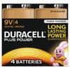 Duracell Plus Battery 9V (Pack of 4) 81275463
