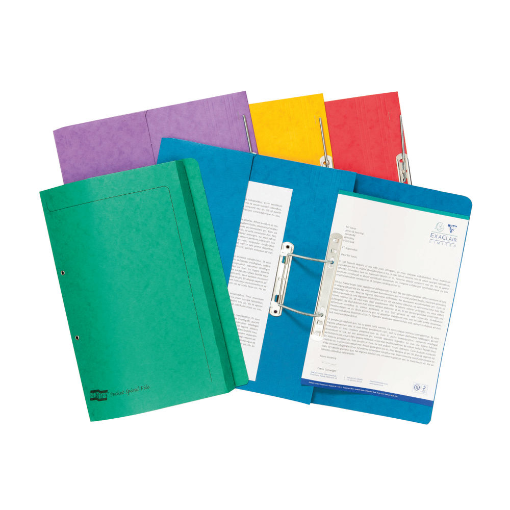 Europa Assorted Colours Foolscap Spiral Pocket Files - Pack of 25 - 3010Z