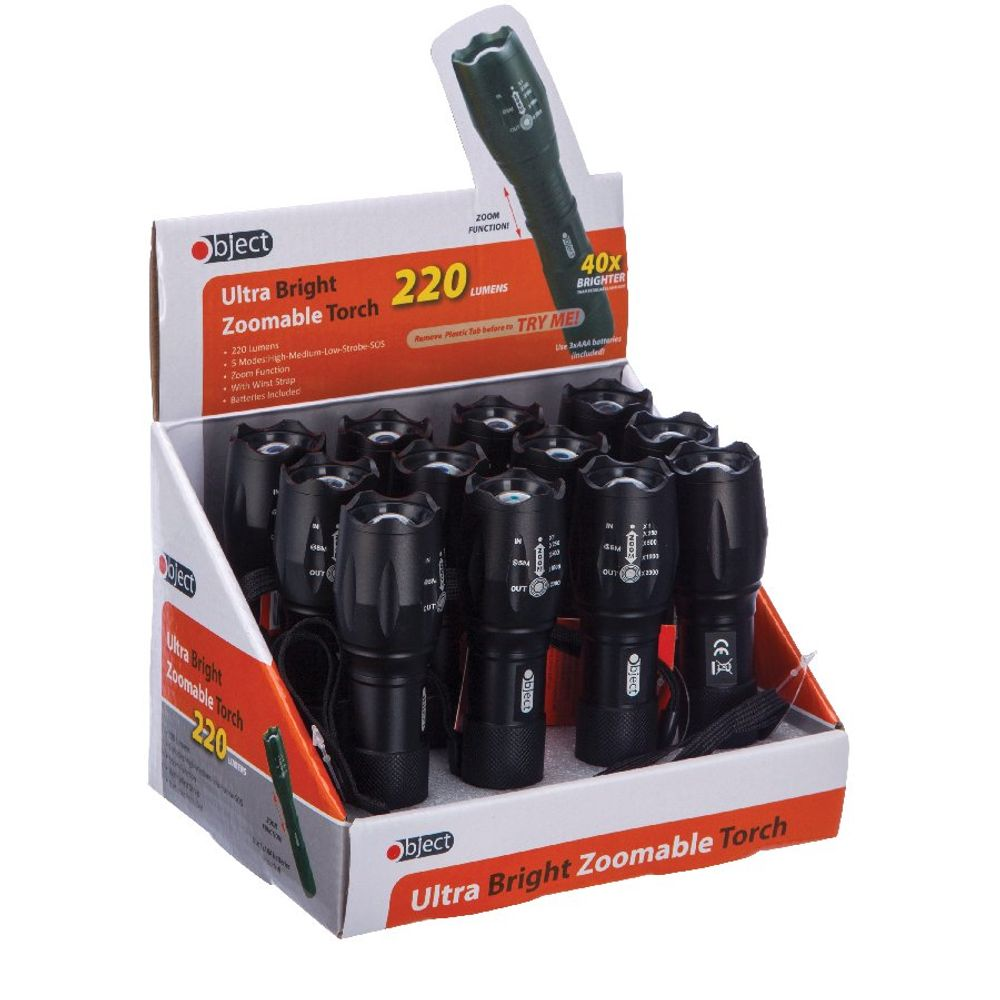 Object Ultra Bright Zoomable Torch 220 Lumens (Pack of 12) SP158