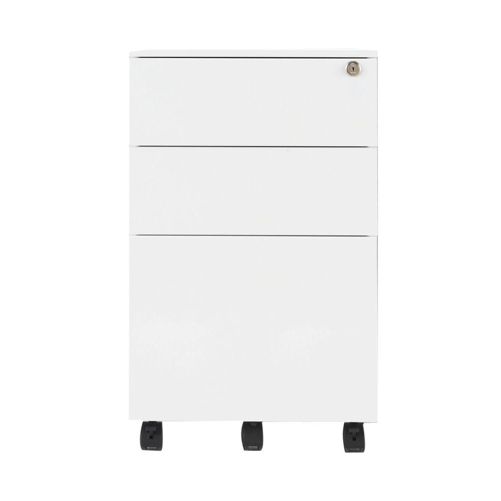 Jemini 615mm White 3 Drawer Mobile Steel Pedestal