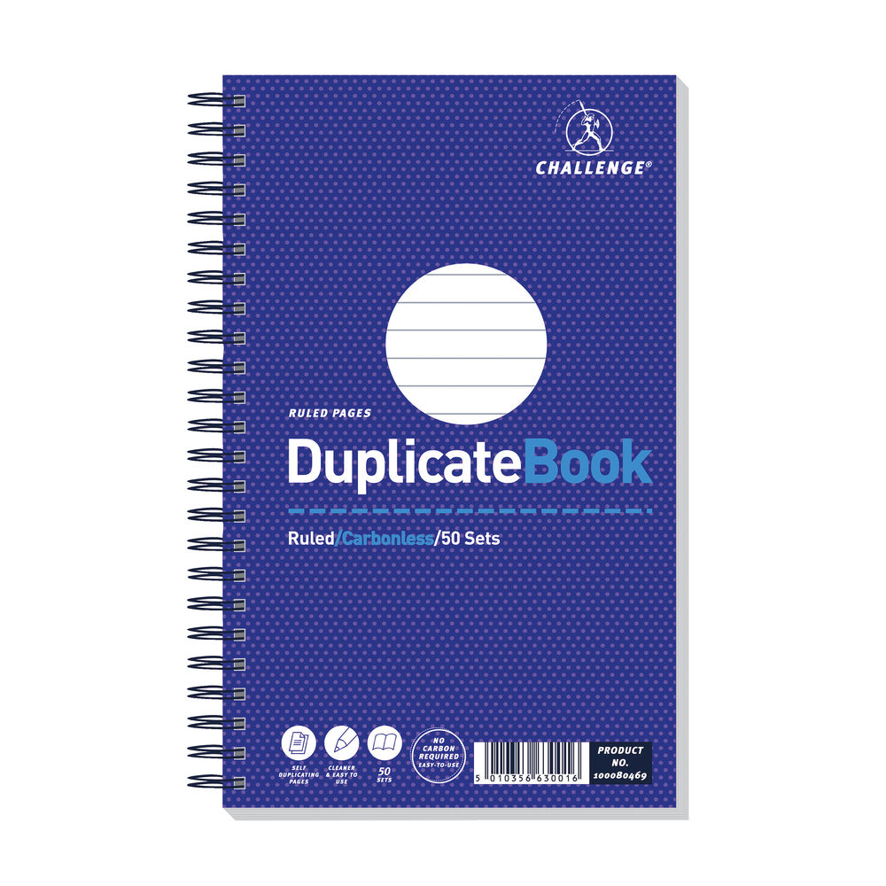 Challenge Carbonless Duplicate Ruled Book, 50 Slips (Pack of 5) - F63001