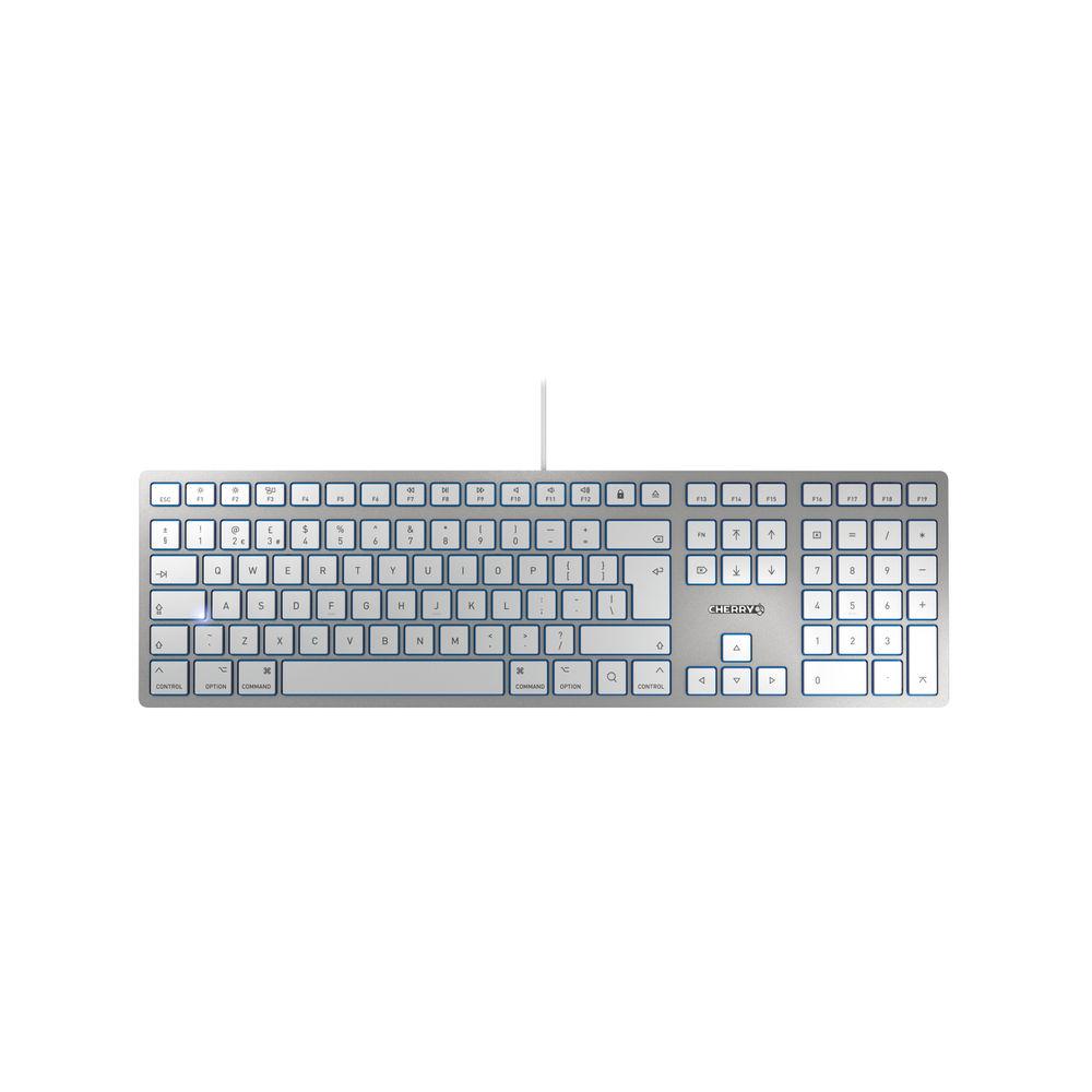 CHERRY KC6000 Silver Slim Ultra Flat Mac Wired Keyboard - JK-1610GB-1
