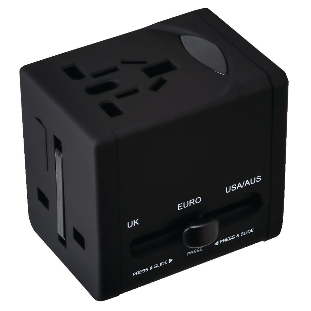 Swordfish VariPlug Black USB Universal Travel Adaptor - 40249