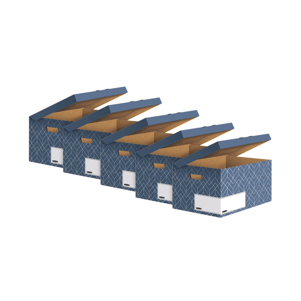 Bankers Box Decor Flip Top Box Blue (Pack of 5) 4484101