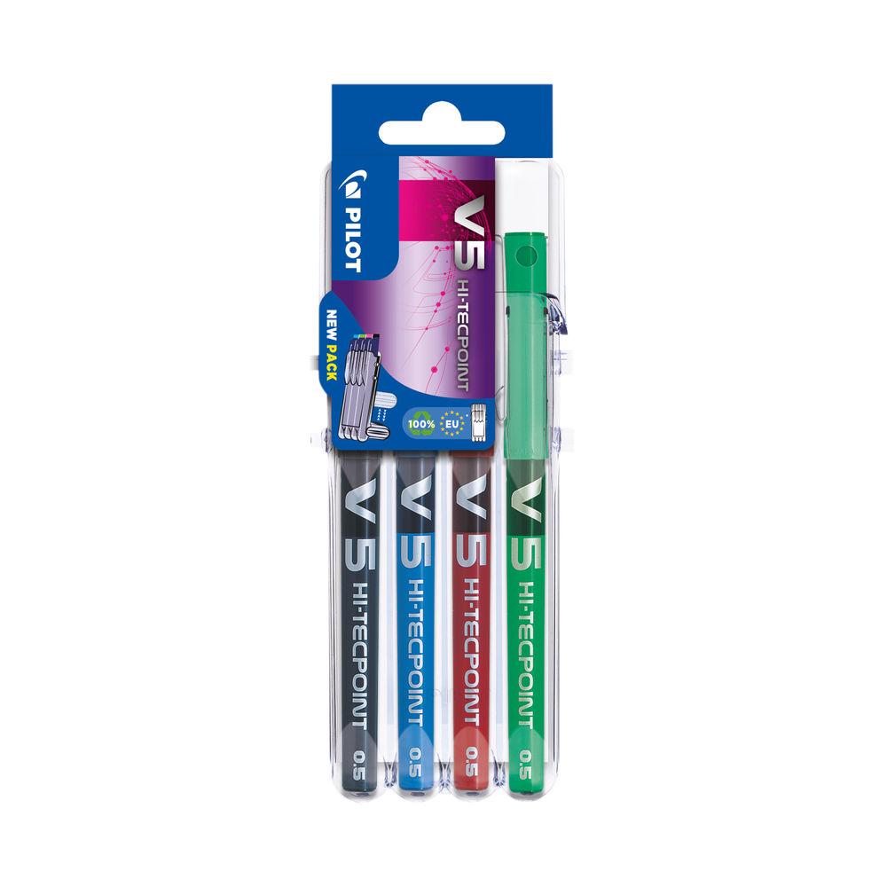 PILOT V5 Set2Go Rollerball Pens Assorted (Pack of 4) S2G573470