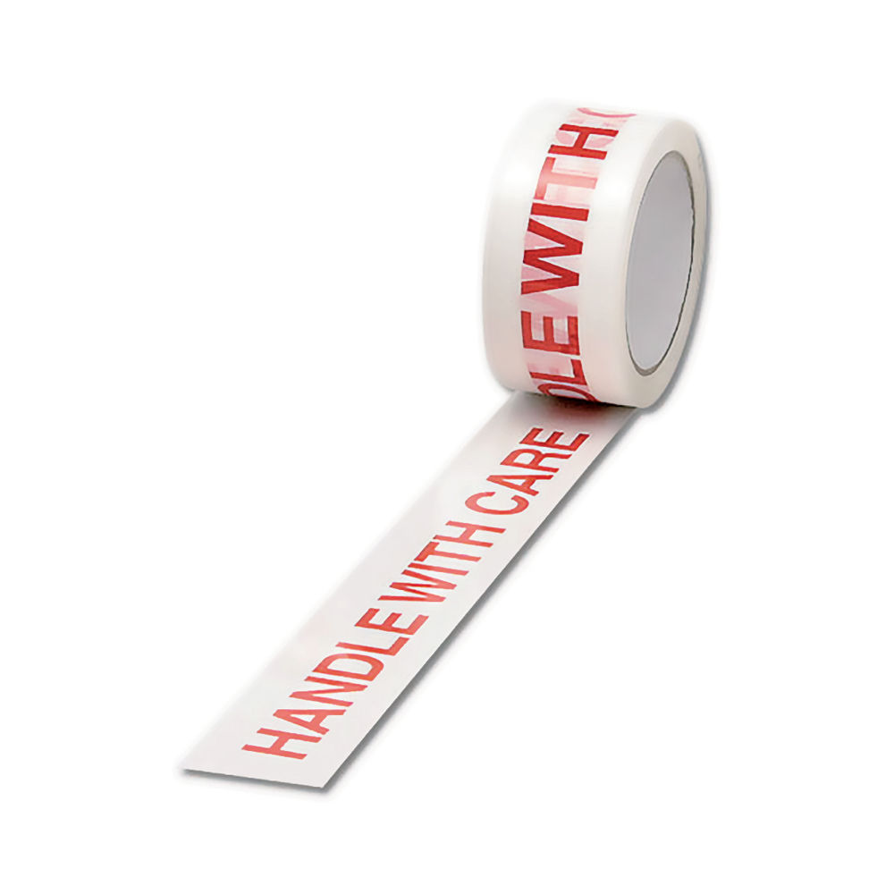 White and Red 50mm x 66m Handle with Care Tape (Pack of 6) - 70581500