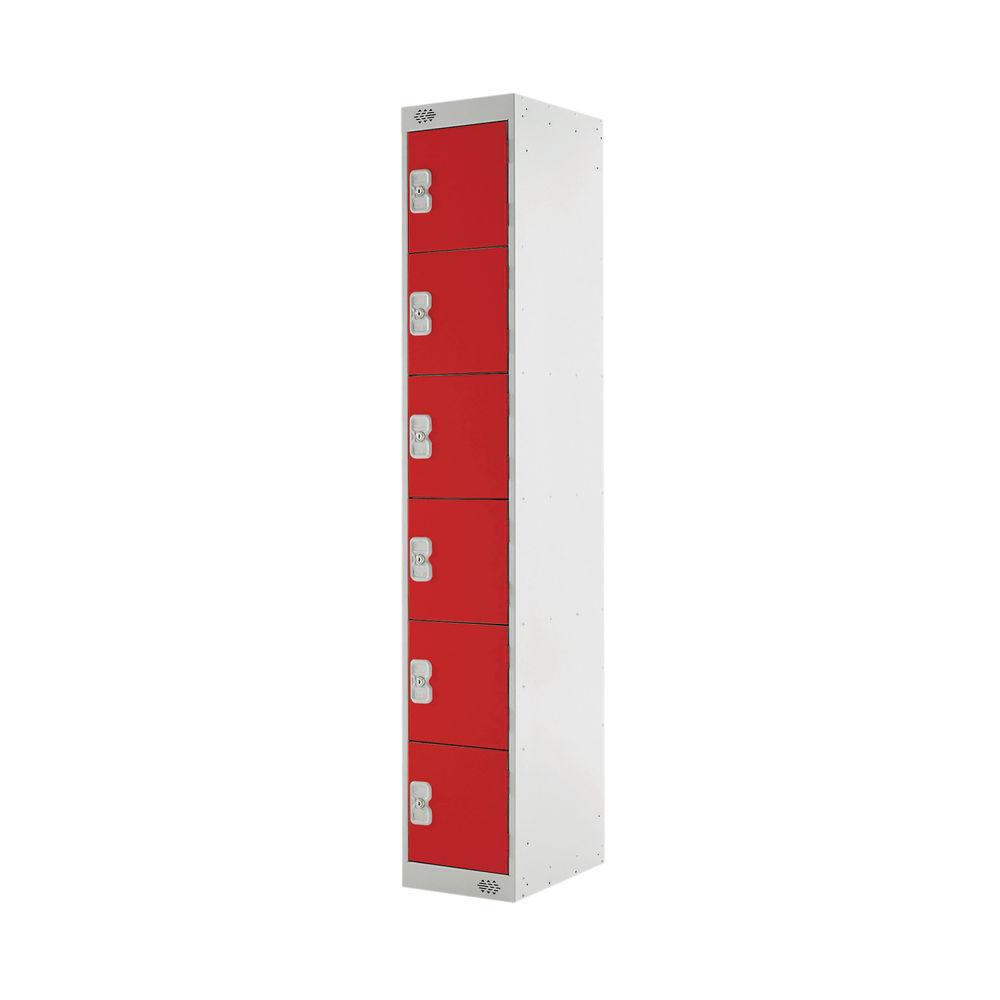 Six Compartment D450mm Red Express Standard Locker - MC00165