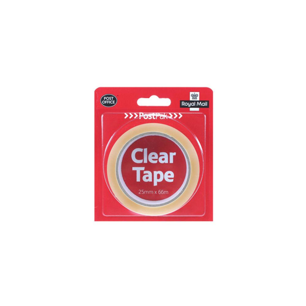 PostPak Clear Tape Large Roll, 25mm x 66m - 924975