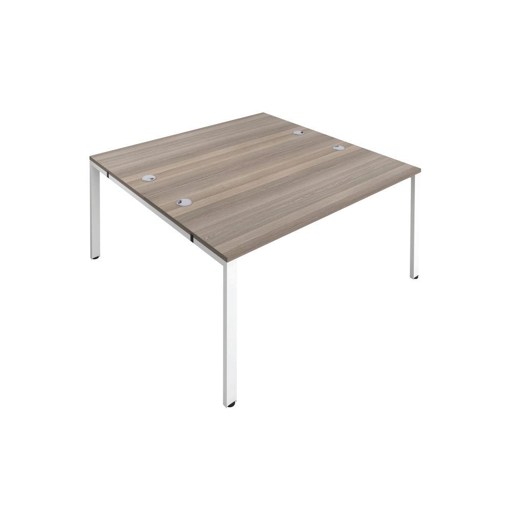 Jemini 1600mm Grey Oak/White Two Person Bench Desk