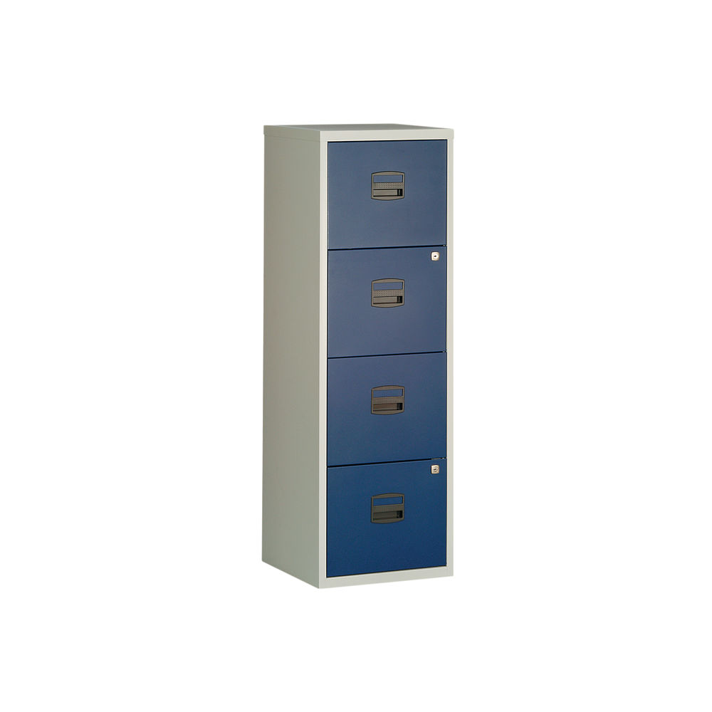 Bisley 1282mm Grey/Blue Home 4 Drawer Filing Cabinet - BY78729