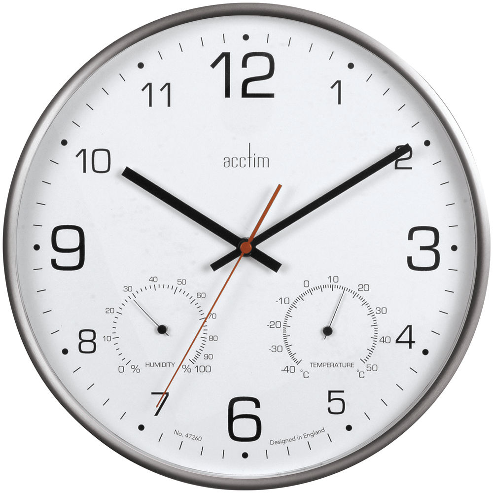 Acctim Komfort 30.5cm Metal Thermo Hygro Wall Clock - 29147
