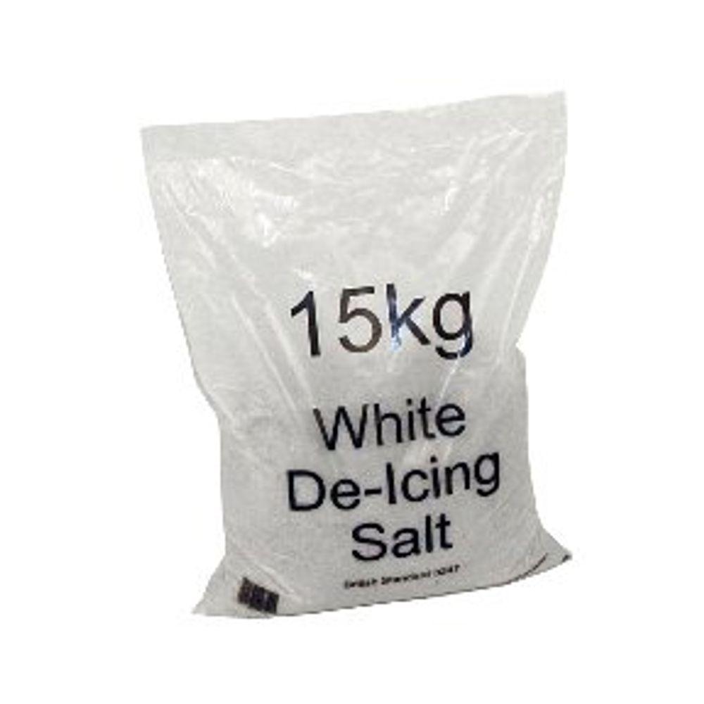 White 15kg Bag De-Icing Salt, Pack of 10 - 383498