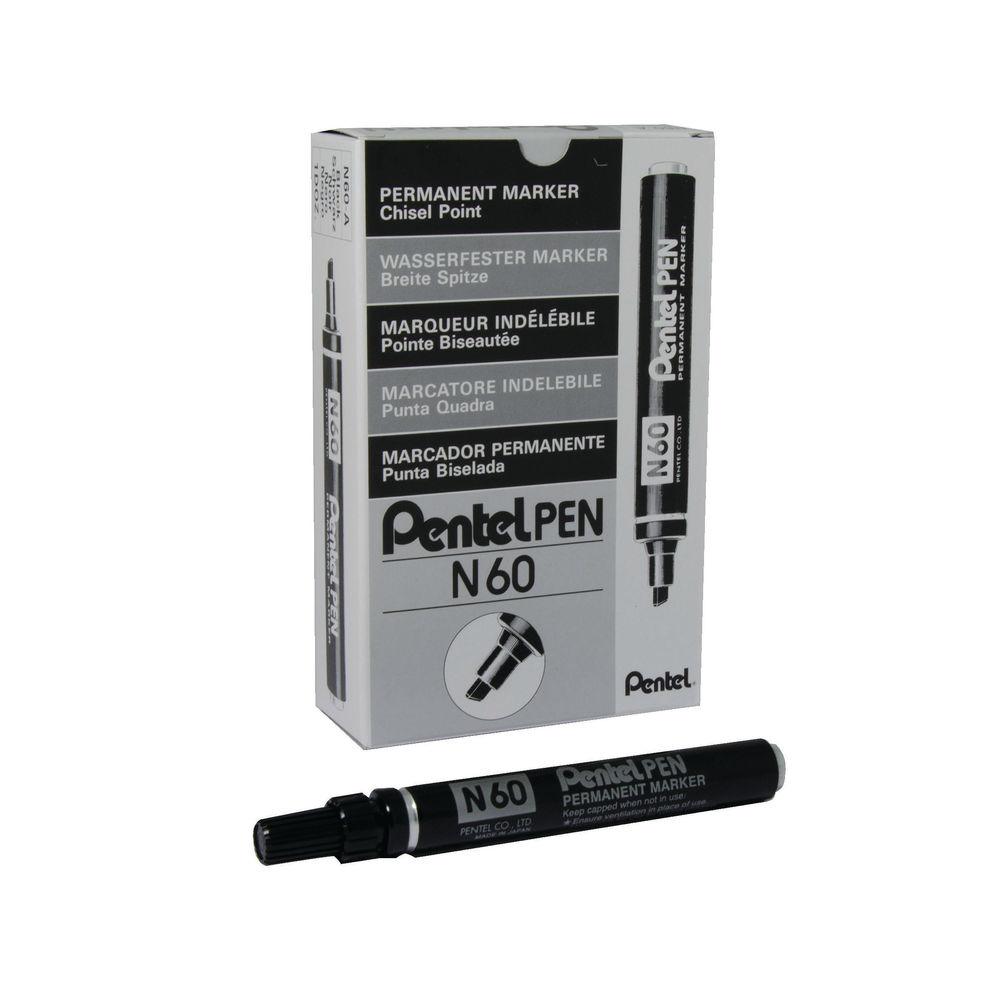 PENTEL MARKER CHISEL TIP BLACK N60-A PACK 12