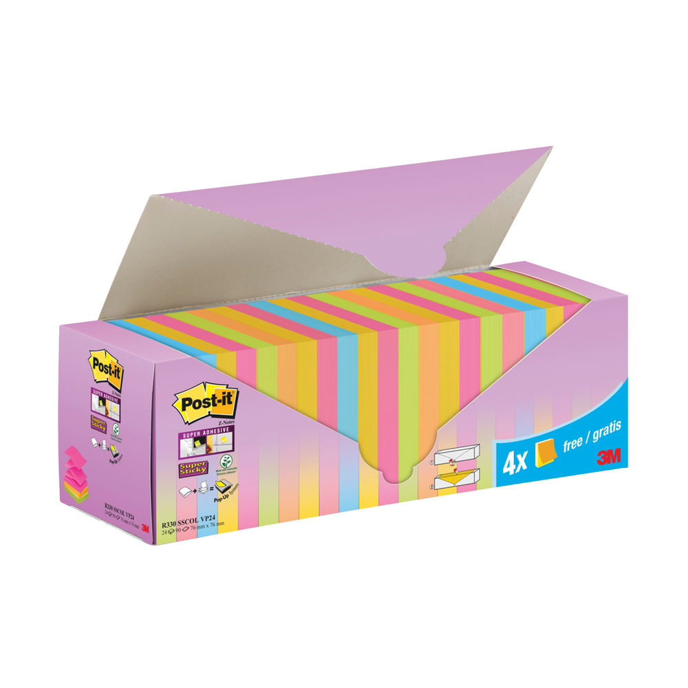 Post-it Sticky Z-Notes Colour Cabinet 76x76mm (Pack of 24) 7100236587